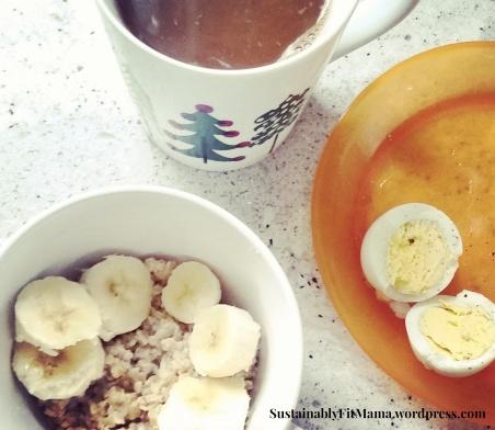 Steel Cut Oats + Banana + Hard boil Egg + COFFEE