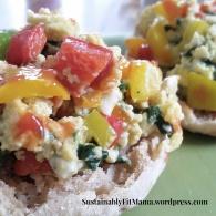 Scrambled Eggs + diced veggies + muffin | SustainablyFitMama.wordpress.com